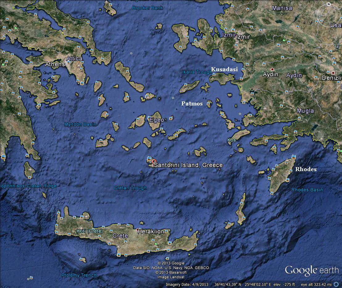 Google map of the Isles, Greece, and Turkey
